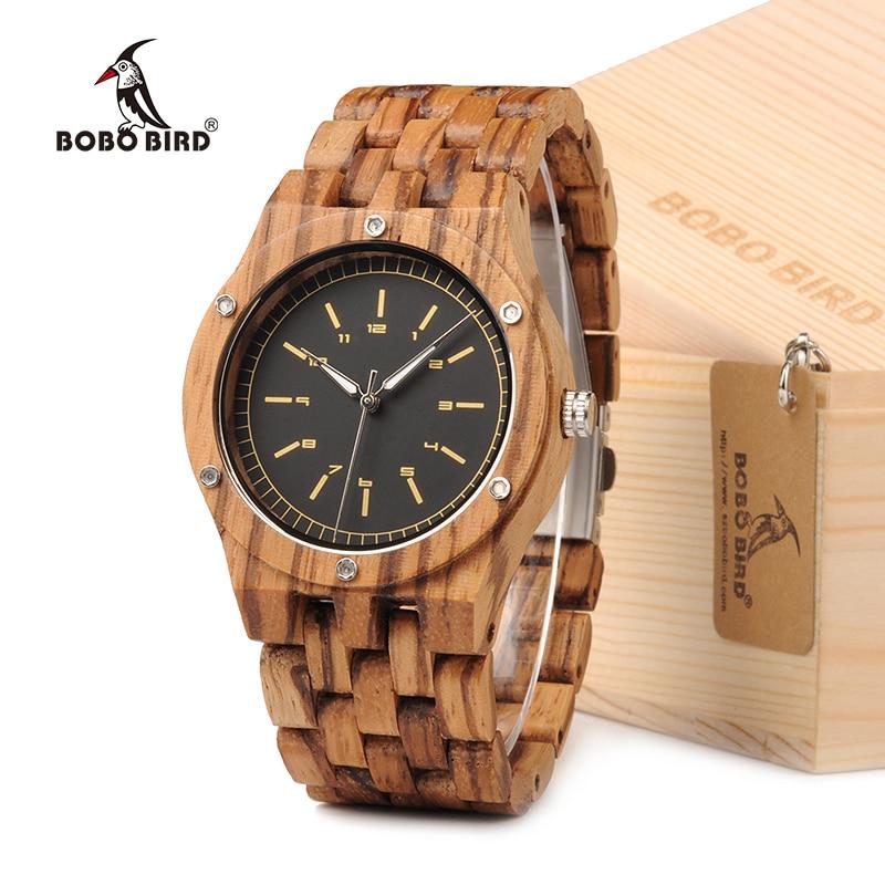 BOBO BIRD N12 zèbre bois montre hommes robe montre-bracelet Unique avec mouvement japonais personnalisé pour cadeau