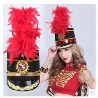 Yeni Onur Bekçi Caz Dans Şapka Bant Davul No. Siyah Görevlisi Şapka Kırmızı Tüy Şapka