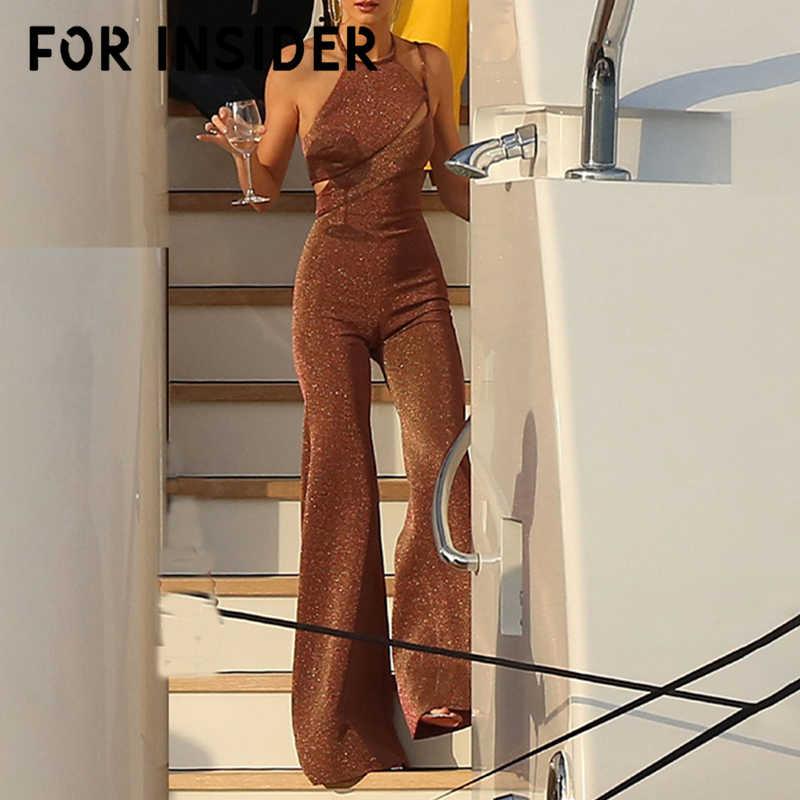 Для инсайдера широкие ноги блесток сексуальное для вечеринок комбинезон длинный открытая спина коричневый офисный женский комбинезон женские осенние зимние комбинезоны 2019