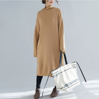 Johnature 2019 Spring Turtleneck Sweater Dress Women Solid Color Long Plus Size Pullover New Casual Render Women Sweaters