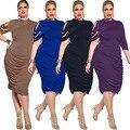 Женщины Очень Большой Размер Платья Весна Лето 2016 Европейский Стиль Женская Мода Плюс Размер Сплошной Цвет Нерегулярные Сексуальные Платья Повязки
