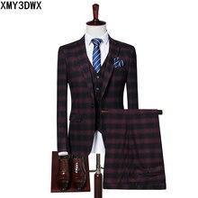 Suit Mens 2017 Slim Fit Formal Wear Male Business Suits High Quality 3 Piece jacket pants