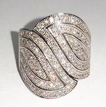 Victoria Wieck pavimenta set 100 unids Topaz diamante simulado 10KT oro blanco llenó el anillo de boda anillo para mujer Sz 5-11 regalo