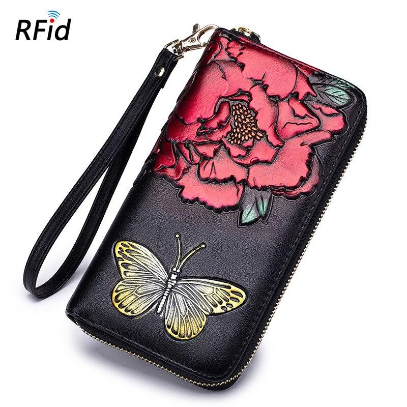 FSINNLV 2018 Genuine Leather Flower Print Wallet Women Fashion Long Wallet Rfid Female Wallet Women Coin Purse Clutch Bag DC365