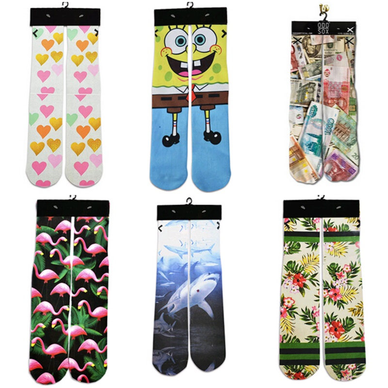 2018 Autumn Spring Fashion Funny Unisex Sock Heart/Shark/Flower/Money/Swan 3d Printed Women Men Short Socks Warm Cotton Socks