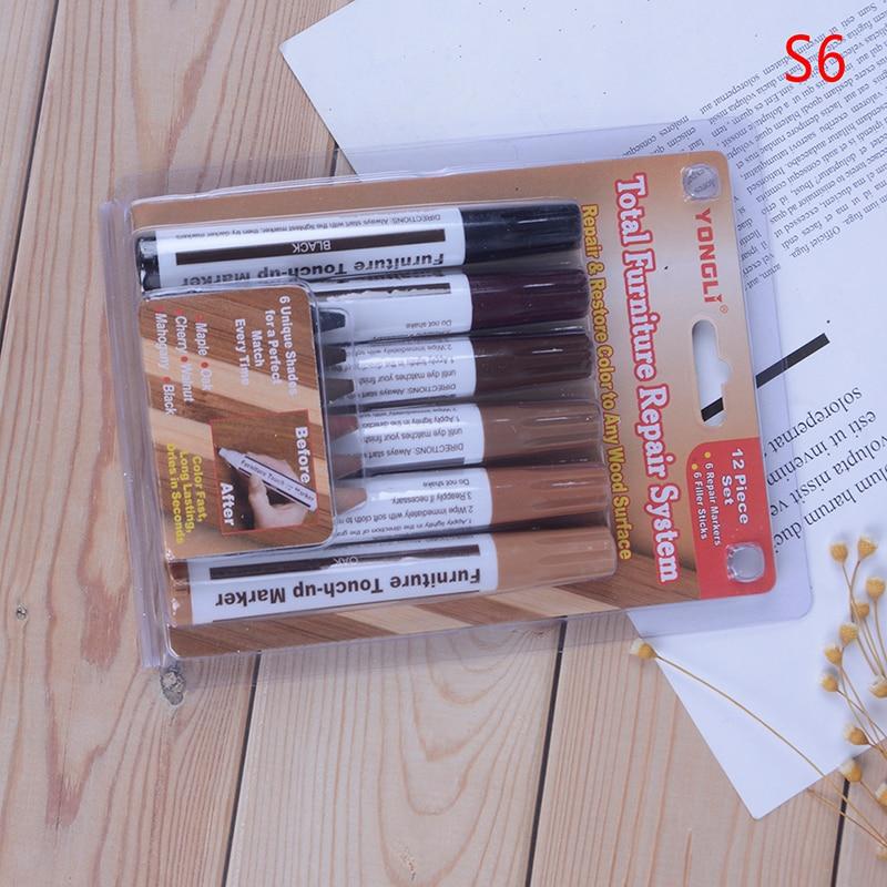 Wood Repair Kit Furniture Paint Floor Repair Floor Wax Crayon Scratch Patch Paint Pen Composite Repair Materials 3/6Pcs