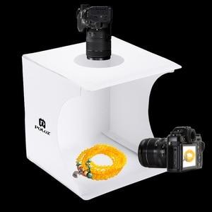 Image 2 - Tragbare Falten Leuchtkasten Fotografie Studio Softbox LED Licht Weichen Box fotografia für iPhone HTC DSLR Kamera Foto Hintergrund