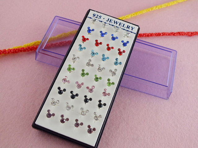 H:HYDE 40pcs=20pair silver color 100% Shiny colourful Mickey Elegant woman For Christmas Crystal Stud Earrings Jewelry