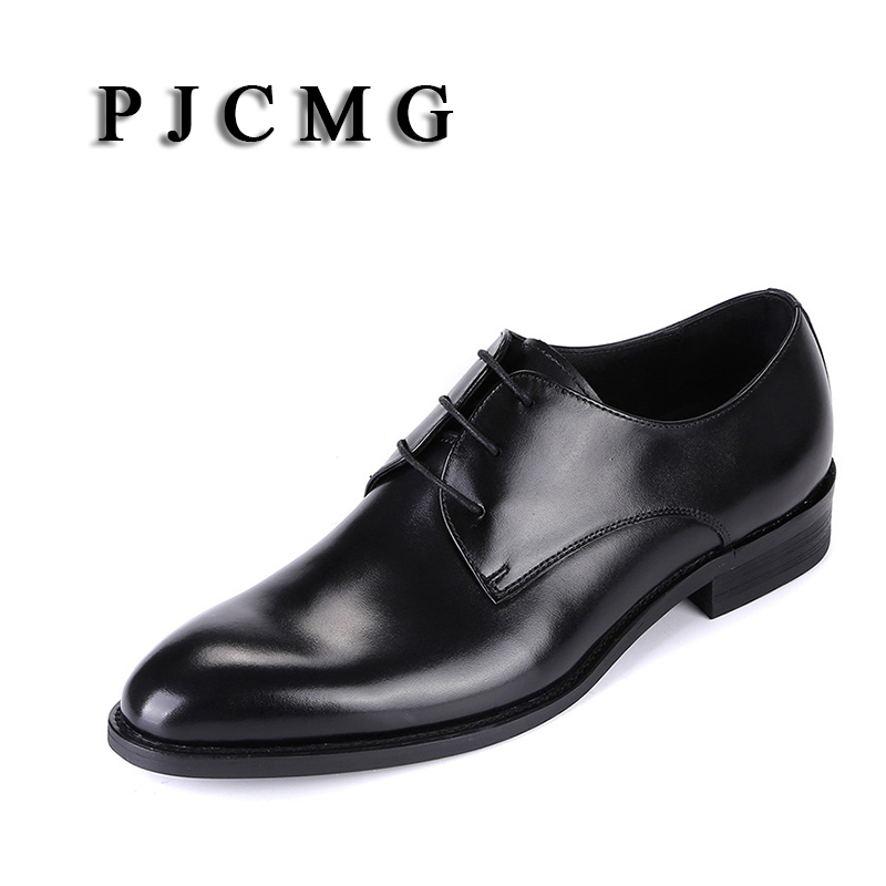 PJCMG High Quality Pointed Toe Genuine Leather Lace-Up Solid Casual Black Wedding Men Flats Buckle Oxford Dress Oxfords Shoes pu pointed toe flats with eyelet strap