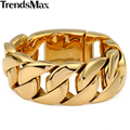 Trendsmax Heavy Biker Gold Plated 316L Stainless Steel Curb Sport Bracelet Mens Chain Boys Wholesale Jewelry 21.8cm HB127