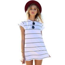 Fashion clothes 2019 dress top New summer beach black-and-white striped miniskirt vestidos office