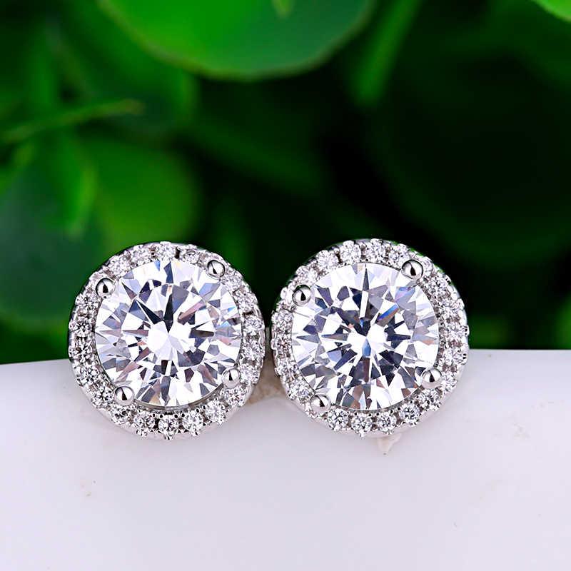 หญิงหรูหราคริสตัล Zircon แหวนต่างหูชุดเครื่องประดับ Charm สีขาวแหวนหิน Boho ต่างหูสตั๊ดขนาดเล็กสำหรับของขวัญเครื่องประดับสตรี