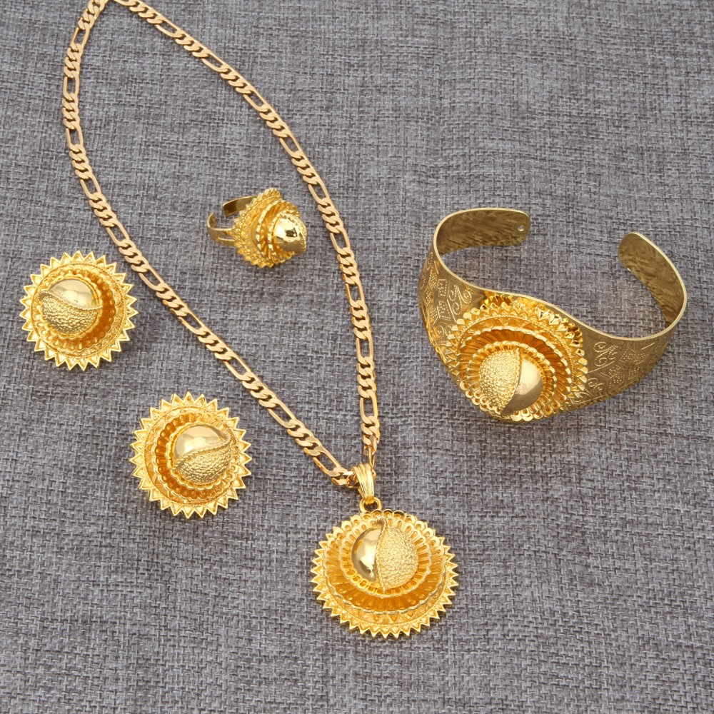 Bangrui NEW 24K Gold  Ethiopian Wedding Sets Jewelry Africa Habesha Gold Jewellery Ethiopia Eritrea Bridal Engagement Gift