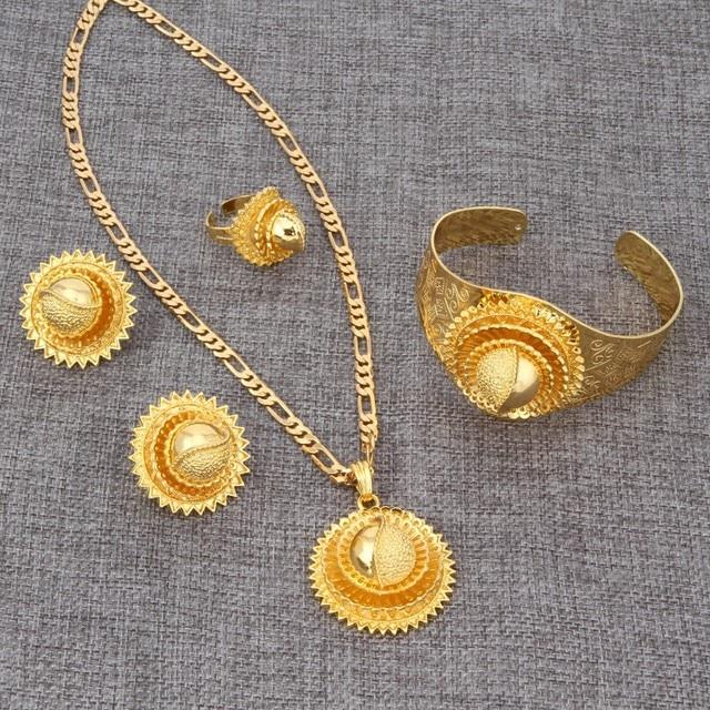Bangrui NEW 24K Gold Ethiopian Wedding Sets Jewelry Africa Habesha