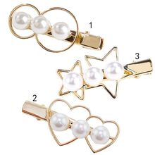 купить Minimalist Geometric Duckbill Hair Clip Women Hollow Circle Heart Star Three Imitation Pearl Hairpin Metallic Side Bang Barrette по цене 48.9 рублей