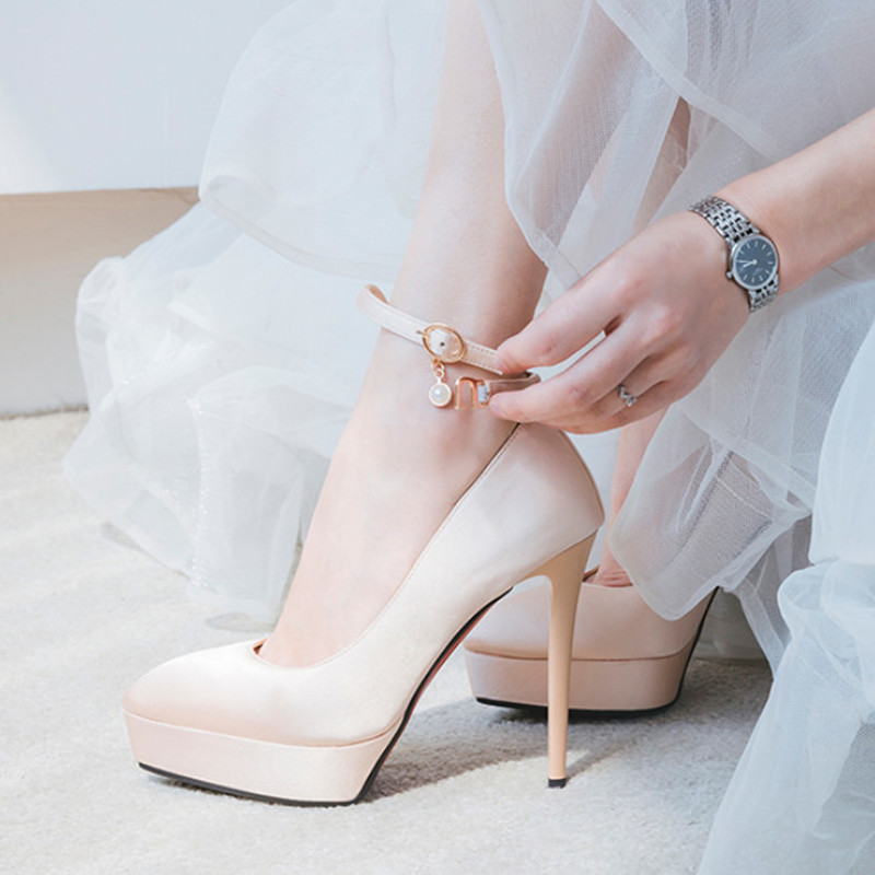 Elegant Shoes Women Sexy High Heels Pointed Toe Wedding Shoes Woman Pumps Comfortable Platform Bridal Shoes For Party newest flock blade heels shoes 2018 pointed toe slip on women platform pumps sexy metal heels wedding party dress shoes