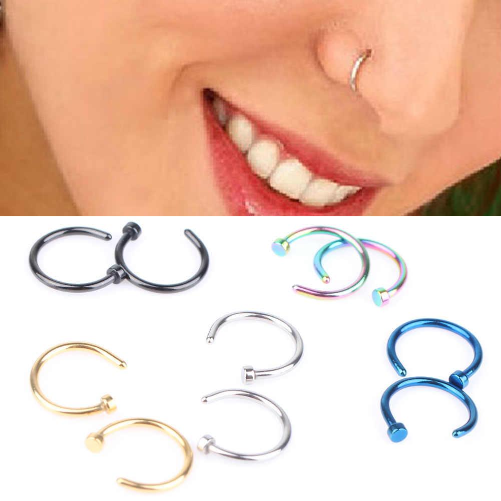 Body Ring fałszywy Piercing biżuteria 5 kolorów kobiety nozdrza nos Hoop pierścienie nosowe ze stali nierdzewnej nakładane na nos biżuteria do ciała