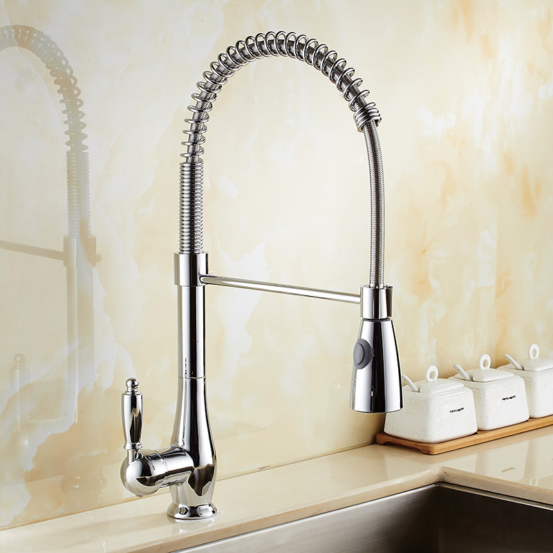 Pull Out Kitchen Faucet Chrome Brass Pull Out Spring Kitchen Sink Faucet Swivel Spout Tall Vessel Mixer Tap Torneira Cozinha deck mount spray stream double handles chrome brass water kitchen faucet swivel spout pull out vessel sink mixer tap mf 278