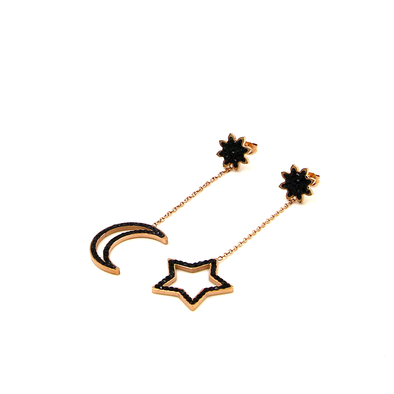 stars and moon hollow out fashion earrings for woman punk fashion jewelry stainless steel Earring for women