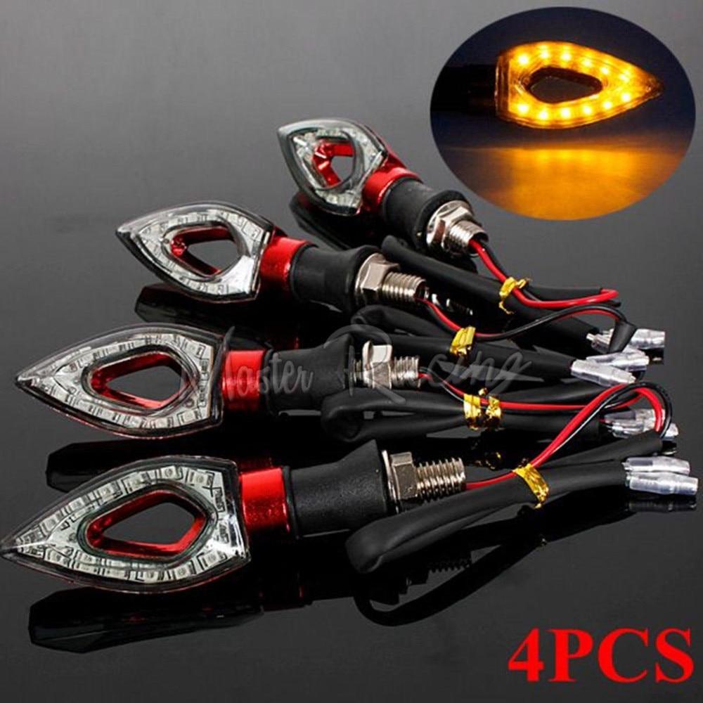 4x Universal Motorcycle LED Turn Signal Indicators Light Blinker Amber Flashing Lamp For Honda Yamaha Savage