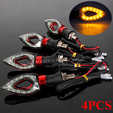 4x Universal Motorcycle LED Turn Signal Indicators Light Blinker Amber Flashing Lamp For Honda Yamaha Savage Motorbike Moto