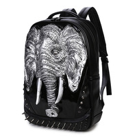 2017 High Quality 3D Elephant Embossing Rivet Black Purse Satchel Backpack Halloween Cool Leather Laptop Travel