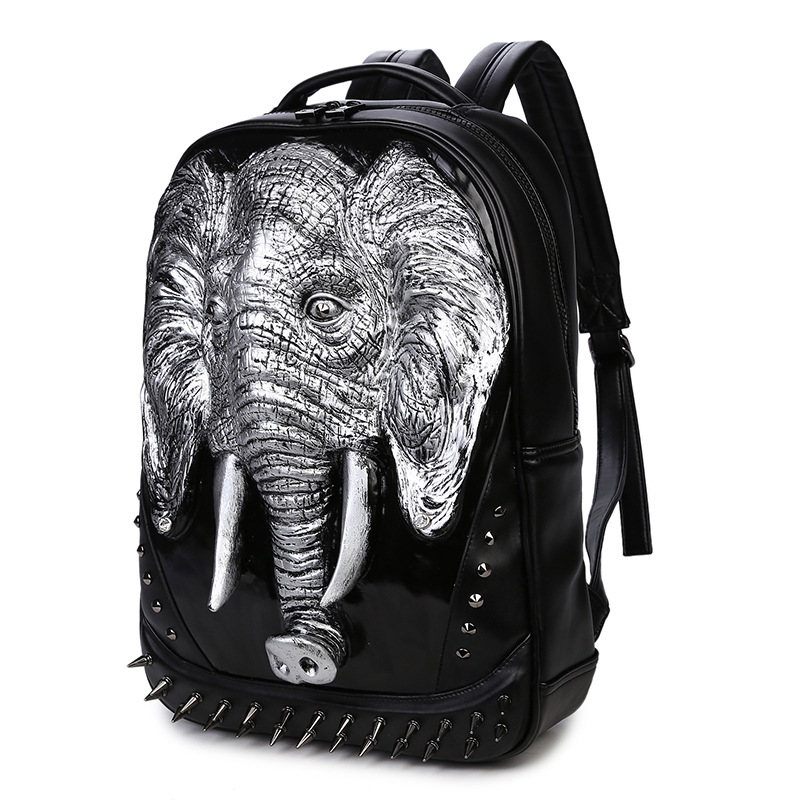 2017 High Quality 3D Elephant Embossing Rivet Black Purse Satchel Backpack Halloween Cool Leather laptop Travel Soft Bags fashion design women backpack leather star rivet black female youth satchel