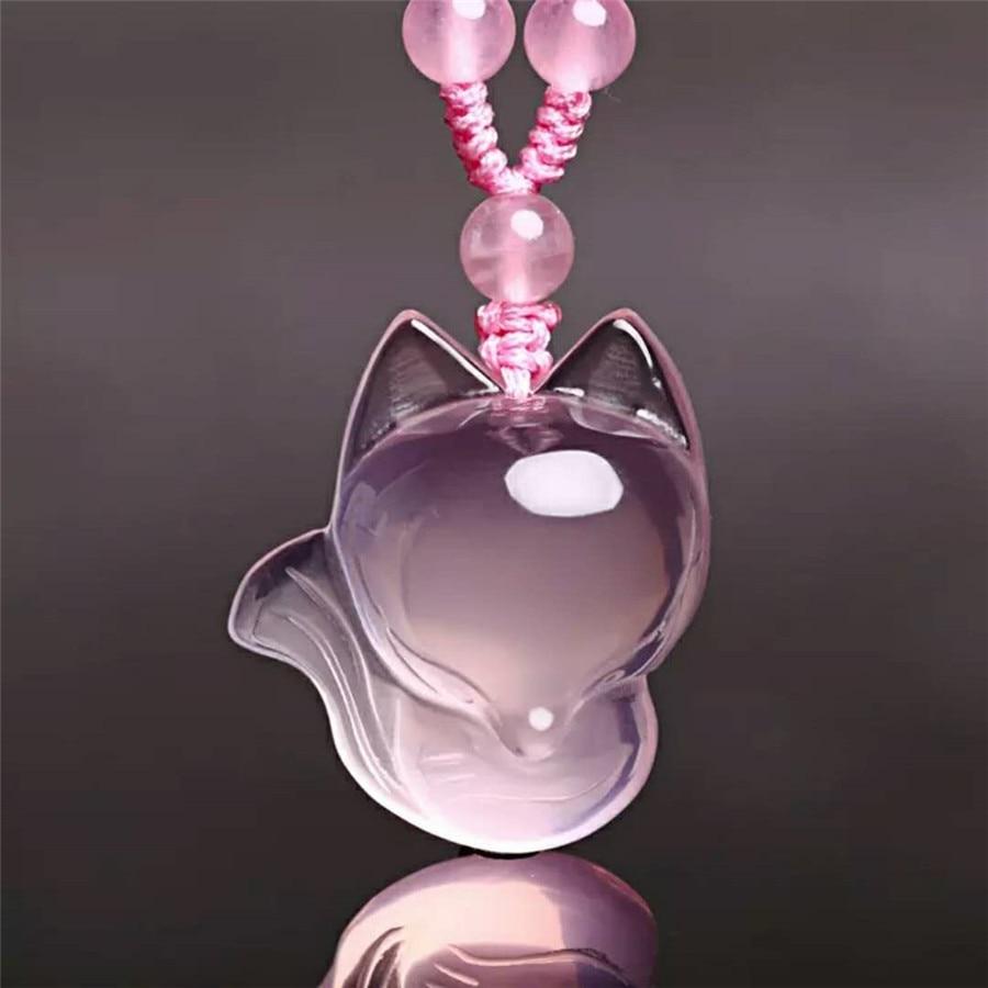 Véritable pierre rose naturelle cristal Quartz pendentif perle Animal renard forme femme collier pendentif