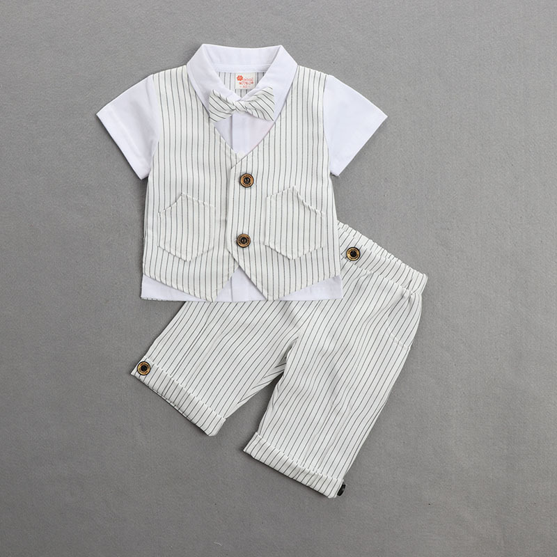 Fashion Baby Boy Clothing Summer New Boy Gentleman Style Short Sleeve Suit Explosion Models Children'S Bow Two Piece