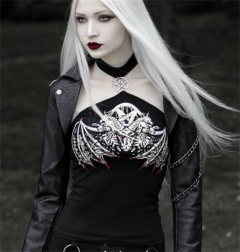Gothic Halter Bodycon Tops Women Black Skull Print Punk Streetwear Fashion Female Tops Pentagram Hollow Out Off Shoulder Top