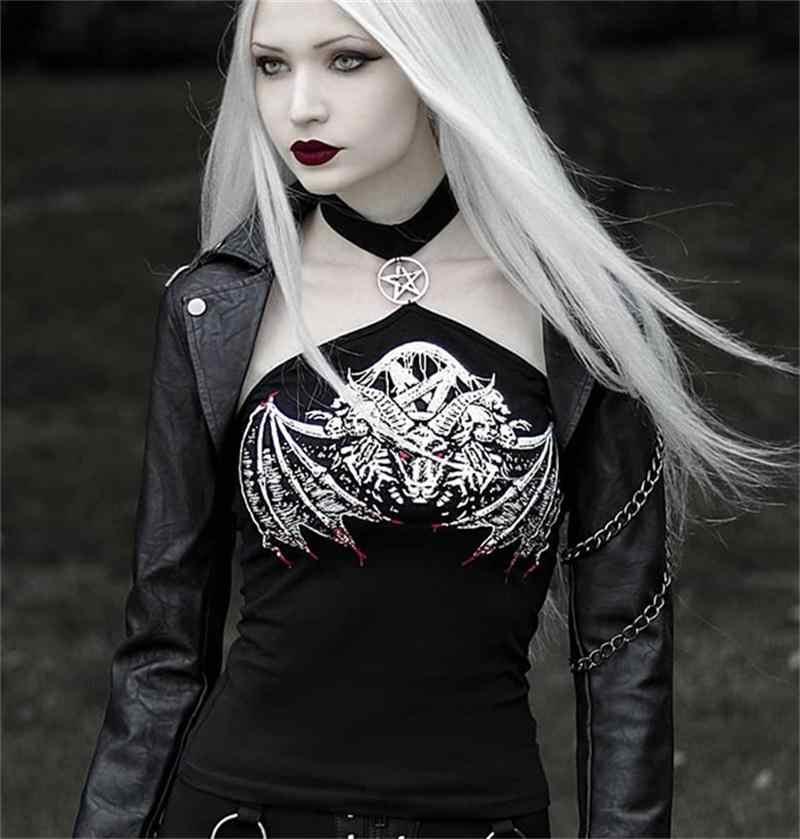 Готический облегающий топ на бретельках, женский черный топ с принтом черепа в стиле панк, уличная одежда, модные женские топы с пентаграммой, Открытый Топ с открытыми плечами