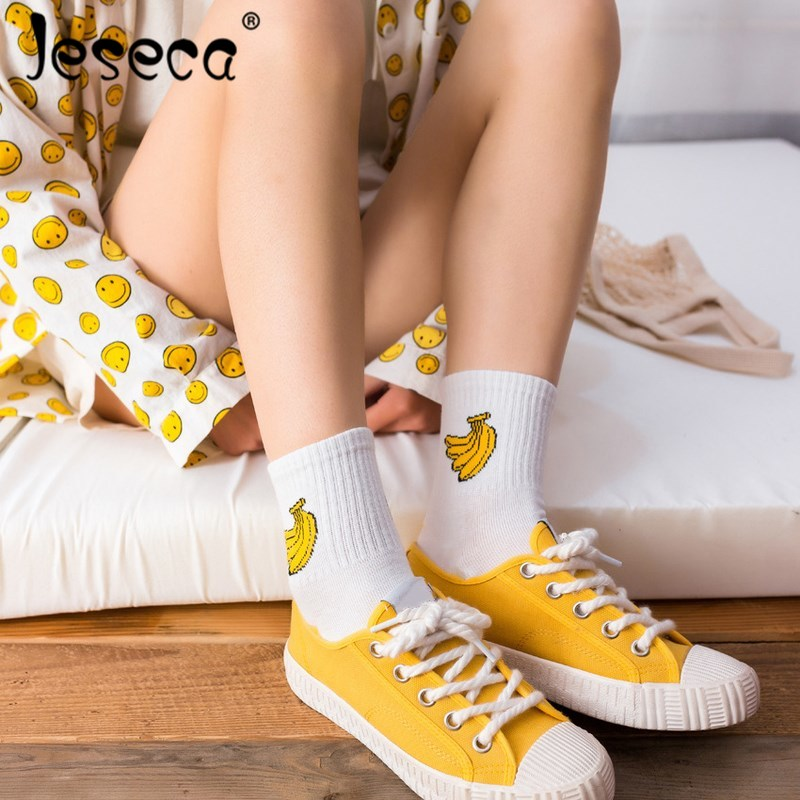 Jeseca Harajuku Short   Socks   Women Cute Animal Print Sox Streetwear Cotton Soft Breathable Christmas   Sock   Gifts For Girls Female