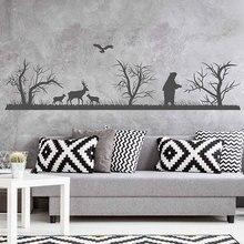 Landscape Vinyl Wall Decal Woodland Sticker Forest Animals World Deers Bear Birds Art Decor Decoration 3116