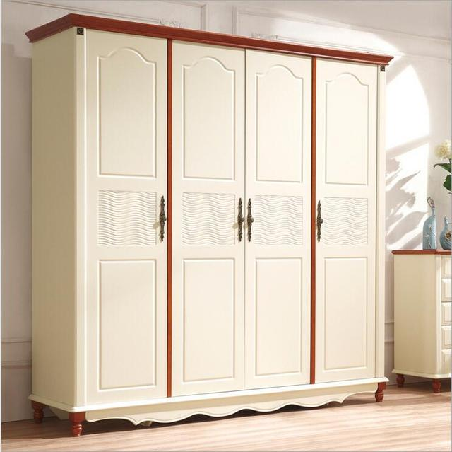 American Country Style Wood Wardrobe Closet Bedroom Furniture Four Doors Large Storage P10255
