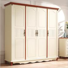 American country style wood wardrobe closet bedroom furniture four doors large storage closet p10255