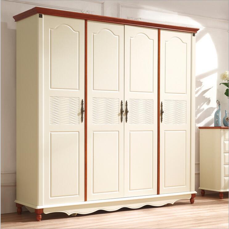 Style campagnard américain armoire en bois placard chambre meubles quatre portes grand placard de rangement p10255