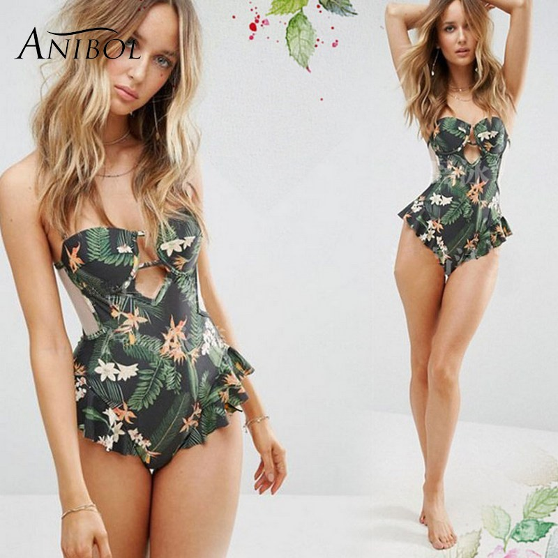 ruffles floral string one piece swimwear Anibol Retro Floral Swimsuit 2017 Transparent Mesh One Piece Women Swimwear Push Up Monokini Ruffles Female Bathing Suit