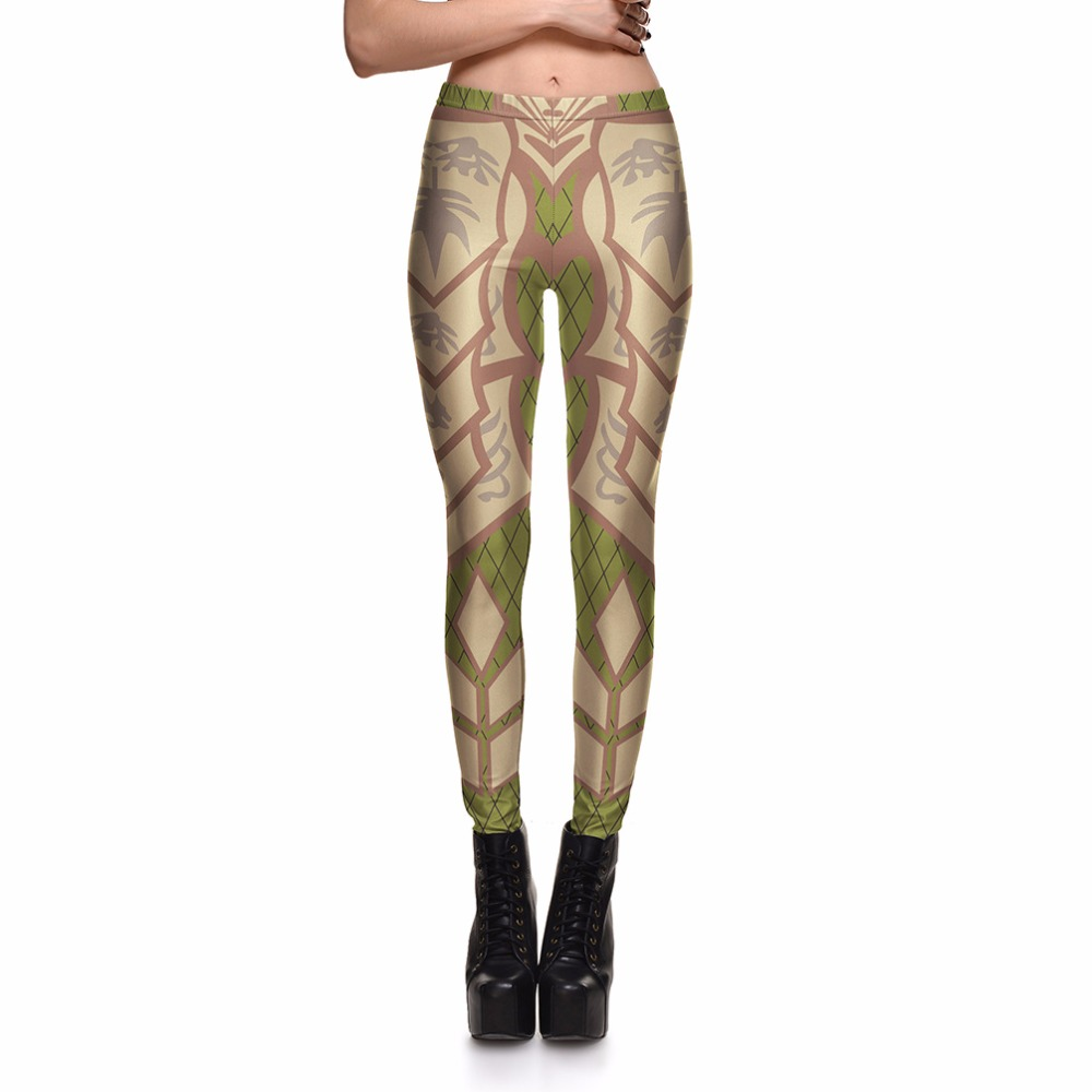 Leggings Competitive Games Hot Product Women's Khaki Green Plaid Leaves  Leggings Digital Print Pants Trousers Stretch - Popular Green Plaid Pants-Buy Cheap Green Plaid Pants Lots From