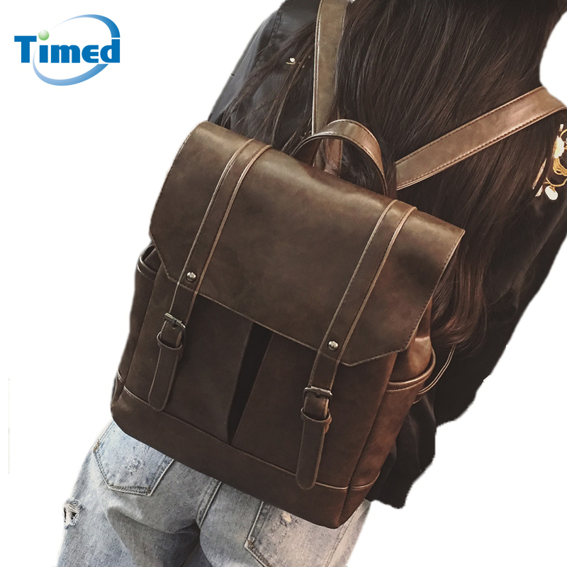 England Style Vintage Pu Leather Backpack Preppy Style Girls Students School Bags Fashion Big Capacity Lady