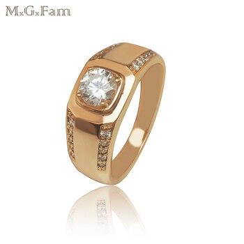 63e5d8adff54 MGFam sola piedra hombres anillos moda joyería Color oro y cobre ambiental