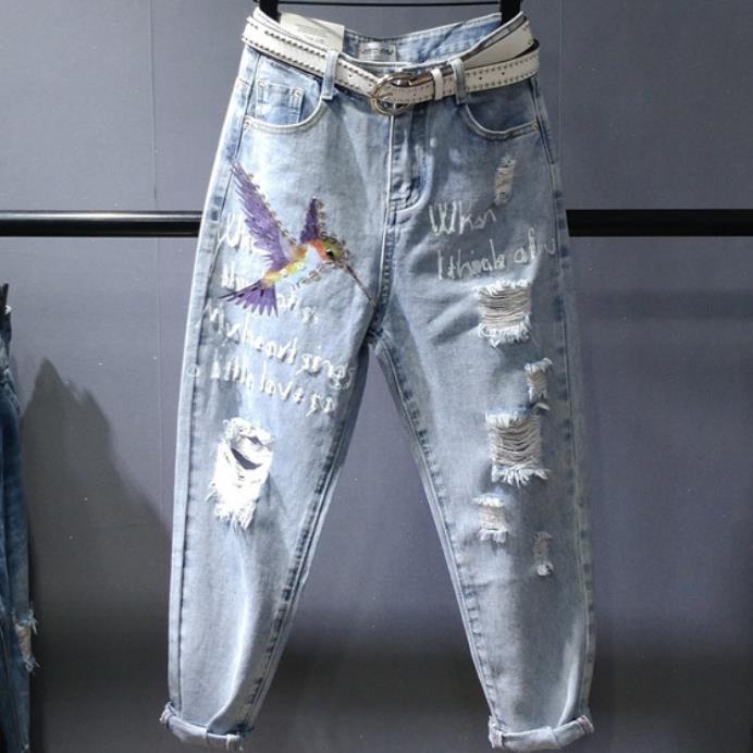 Hole Jeans Women 2019 Summer New Fashion High Waist Ankle Length Printed Harem Pants Plus Size