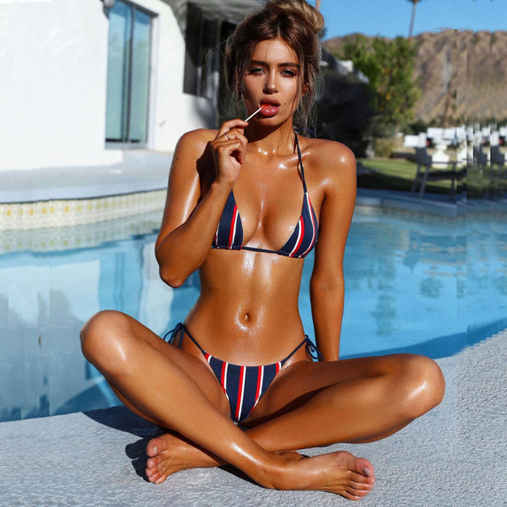 Beach Swimsuit Bra Bikini-Set Padded Sexy Striped Push-Up Summer Women Biquini title=