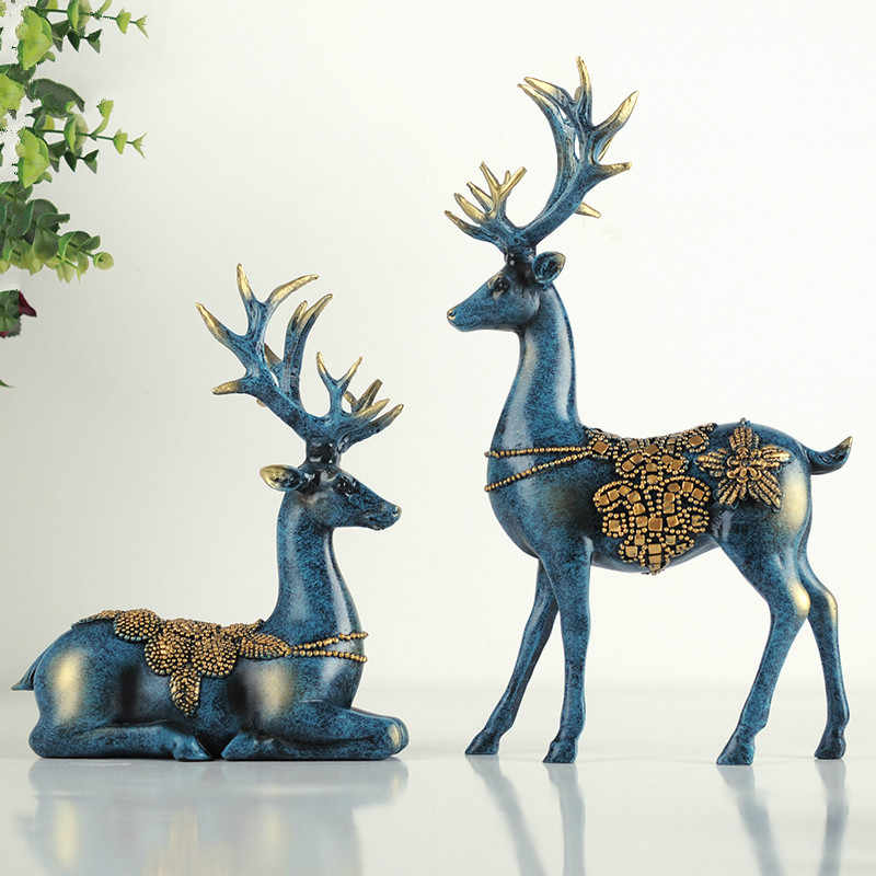 A couple of deer statue  European style deers  living room  bedroom  Wine cabinet  ornaments  creative wedding gifts