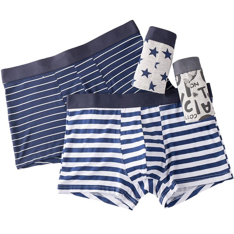 Men Underwear Printed Boxer Male Panties Short Fashion Striped Cueca Boxer Homme Modal Slip Boxershorts L 4XL 4pcs/lot-in Boxers from Underwear & Sleepwears