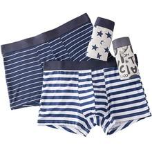 Men Underwear Printed Boxer Male Panties Short Fashion Striped Cueca Boxer Homme Modal Slip Boxershorts L 4XL 4pcs/lot