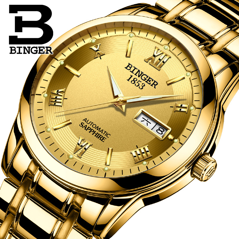 2017 BINGER Luxury Brand Watches Men Automatic self-wind Fashion Casual Male Sports Mechanical Watch Full Steel Gold Wristwatch men mechanical watch brand luxury skeleton wristwatch stainless steel antique fashion casual automatic self wind watches lz2108