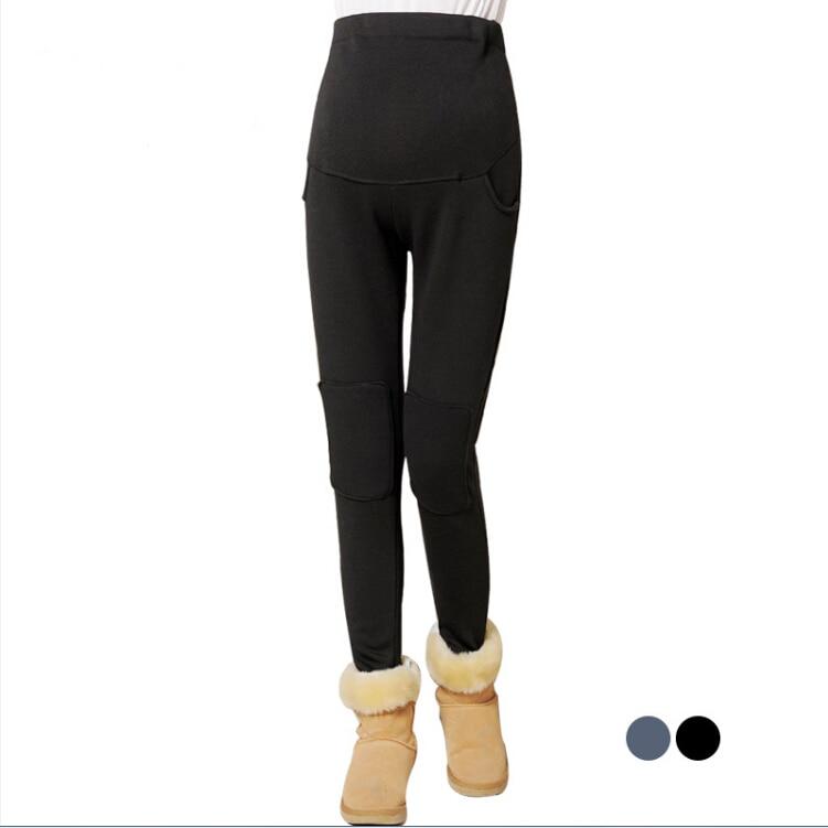 1727 maternity winter thickening plus velvet legging pants trousers fashion design for pregnant women outerdoor wear
