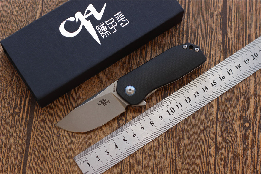 High quality CH3005 pocket folding knife hunting AUS-8 blade Titanium army camping knife fishing EDC tools utility top knifes quality tactical folding knife d2 blade g10 steel handle ball bearing flipper camping survival knife pocket knife tools