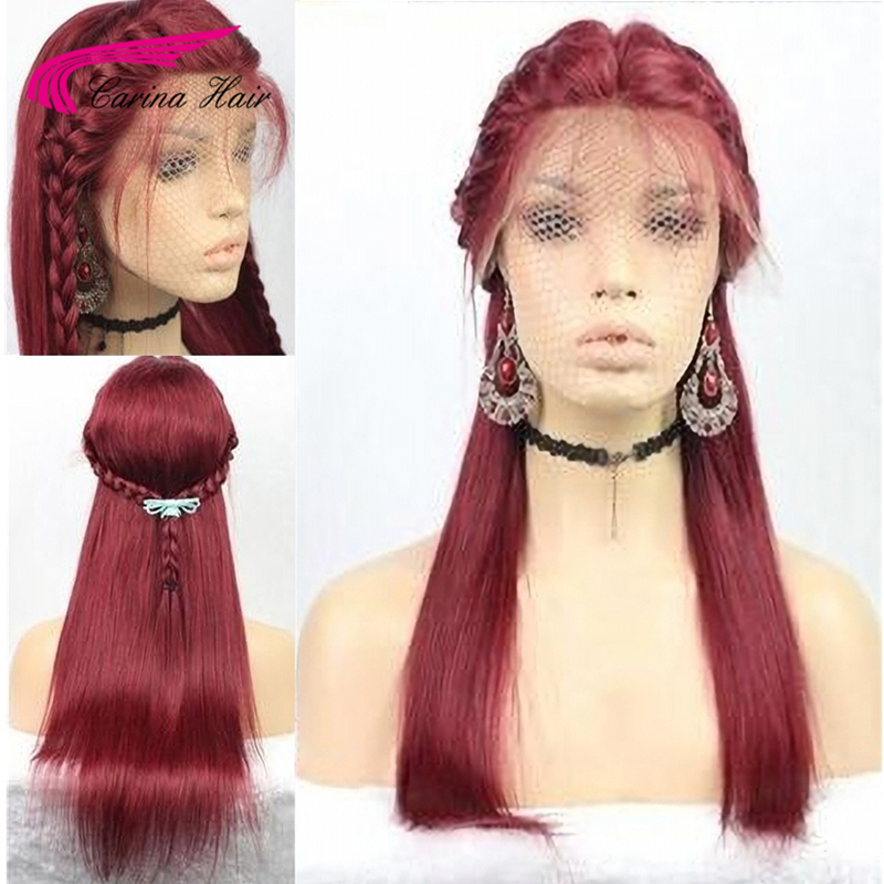 Carina Pure 99J Lace Front Human Hair Wigs With Baby Hair Straight Remy Hair Pre Plucked