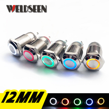 12mm Self Reset LED Light Metal Push Button Switch  5 Colors 4 Pins Waterproof Car Power Button Switch 3V 6V 12V 24V 220V цена